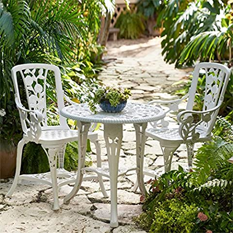 Brylanehome 3-Pc Rose Bistro Set (White) (White Bistro Dining Table)