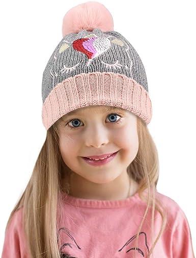 Wintermütze  Damen Mädchen  Bommelmütze   Strickmütze Beanie Flecce Warm Rosa