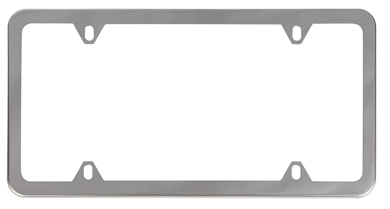 12.4 x 6.4 Inches Mirror Finish Juvale 2-Pack Stainless Steel Car License Plate Frames with Screw Caps