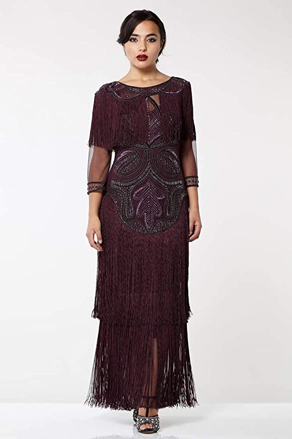 1920s Dresses UK | Flapper, Gatsby, Downton Abbey Dress gatsbylady london Glam Fringe Flapper Maxi Dress in Plum £169.00 AT vintagedancer.com