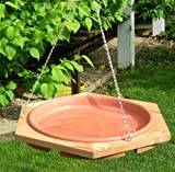 Looker Products 17 Hanging Classic Cedar Bird Bath with Removable Pan''