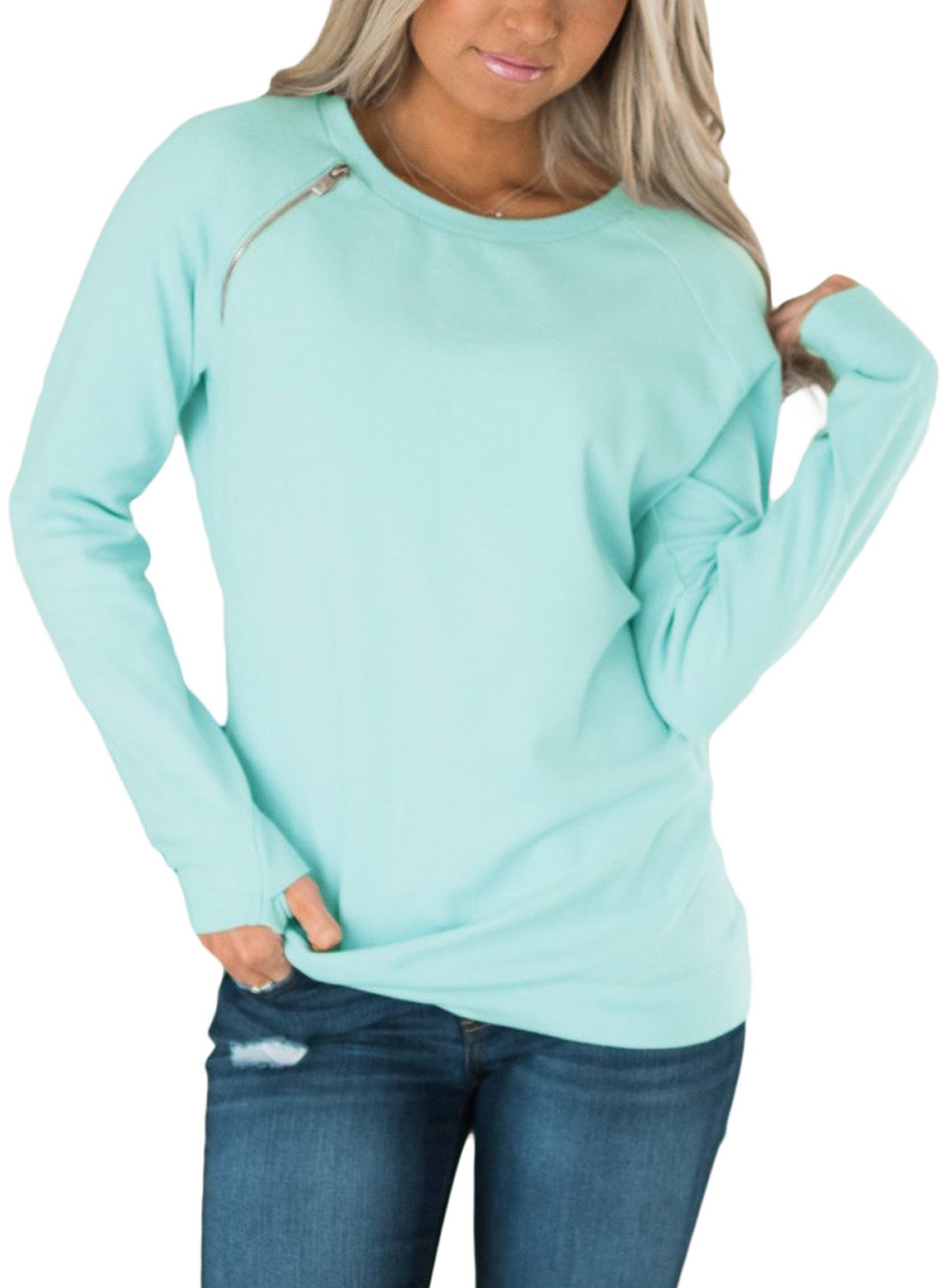 FIYOTE Womens Long Sleeve Round Neck Side Zip Pullover Sweatshirt Casual Tunic Tops