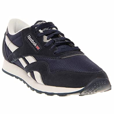Reebok Men's Classic Nylon R13,Athletic Navy/White/Pure Silver,US 7.5
