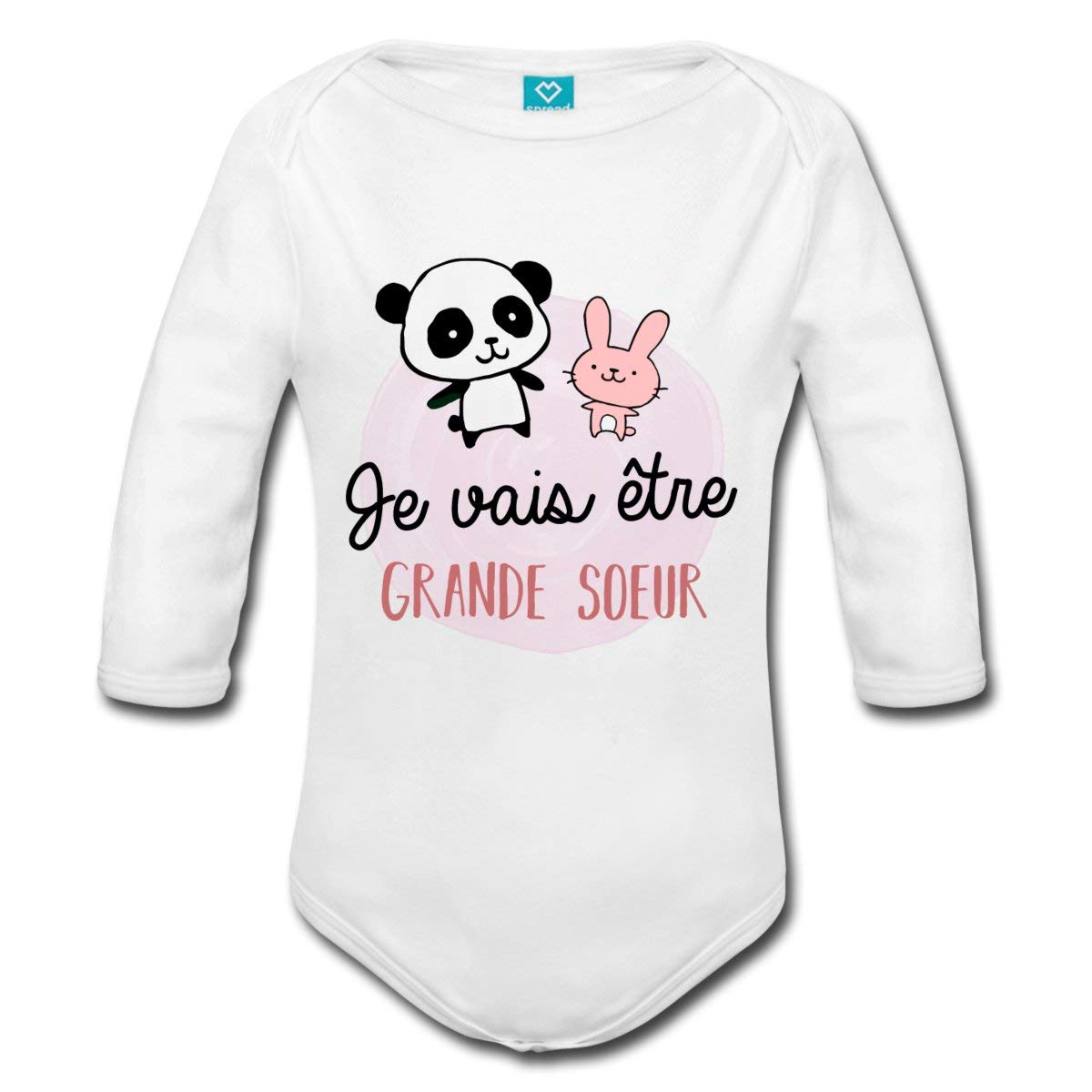 Spreadshirt Future Grande Soeur Panda Lapin Body bébé Bio Manches Longues S205909-A114094593-1
