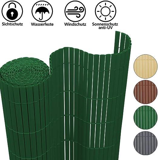 Hengda Pantalla de privacidad Estera de PVC Persiana de Balcón de Jardín, Valla Jardin Protector Cara para jardín balcón y terraza, Verde(90 x 500 cm): Amazon.es: Jardín