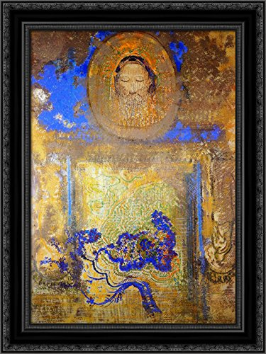 Evocation (Head of Christ or Inspiration from a Mosaic in Ravenna) 20x24 Black Ornate Wood Framed Canvas Art by Redon, - Ravenna Mosaic