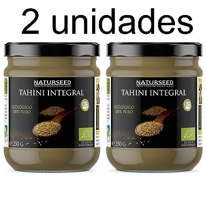 Naturseed - Tahini - Pasta de Sésamo Ecologico, Bio - Salsa Sin Sal Organica Para Hummus - Solo Sesamo Integral Biologico con cáscara tostado.