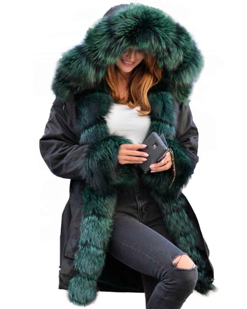 Aofur Womens Hooded Faux Fur Lined Warm Coats Parkas Anoraks Outwear Winter Long Jackets (XX-Large, Black_Green Fur) by Aofur