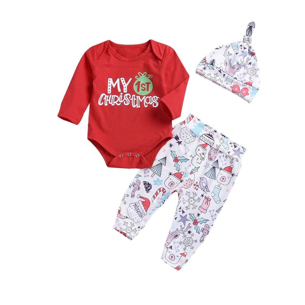 980e7c87e8e7 Amazon.com  Xmas gift Baby Girl Boy Clothes My 1st Christmas Romper ...