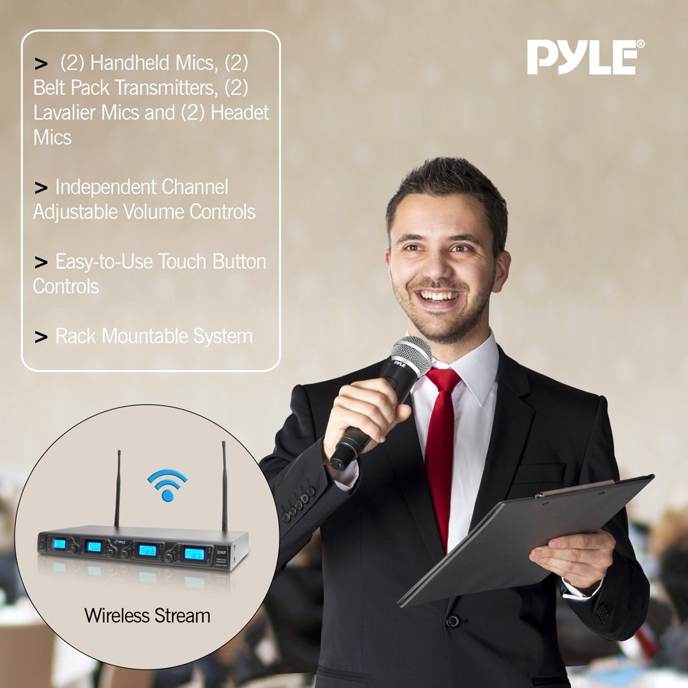 Pyle PDWM4350U UHF Wireless Microphone System with (2) Handheld Mics, (2) Belt Pack Transmitters, (2) Lavalier Mics and (2) Headet Mics, Adjustable Frequencies