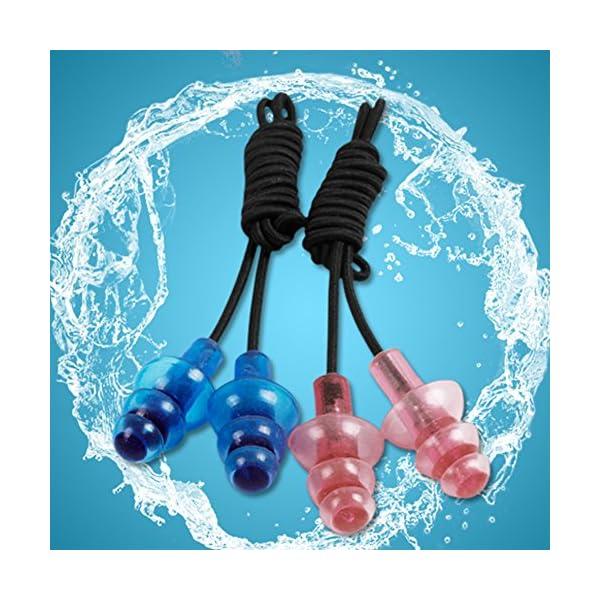 Hinmay Tapones para los oídos de silicona, cuerda de goma elástica transparente, suave, con funda de almacenamiento para nadar, dormir, tapones para los oídos acuáticos 4