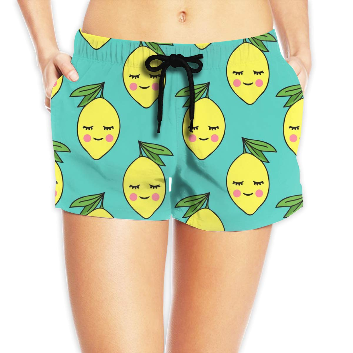 Happy Lemons On Teal Women Beach Pants Quickly Dry Beach Pant