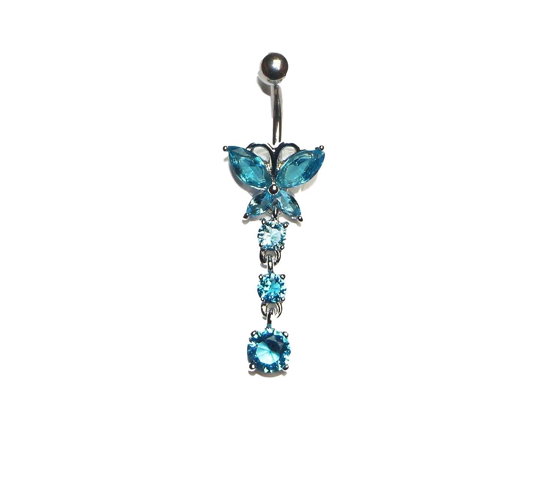 Jewel Fashion surgical steel Butterfly W/ 3 Stoned Dangle Belly ring (AQUA) Jewels Fashion BNR1299AQ