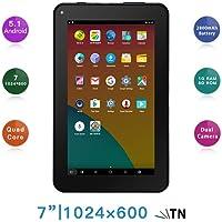 "Haehne 7"" Tablet PC - Google Android 5.1 Quad Core, 1G RAM 8GB ROM, Cámaras Duales 2.0MP + 0.3MP, 2800mAh, 1024 x 600 Pantalla, WiFi, Bluetooth, Negro"