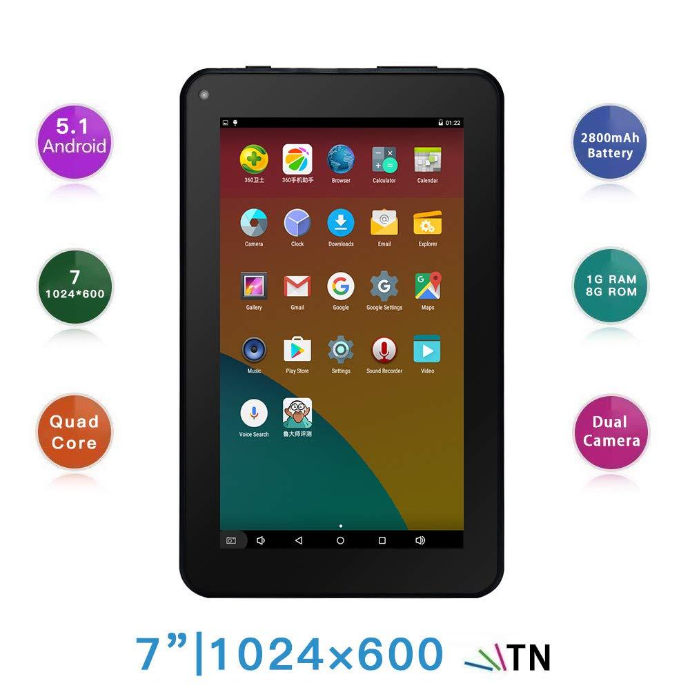 Haehne 7 Pollici Tablet PC - Google Android 5.1 Quad Core, 1GB RAM 8GB ROM, Doppia Fotocamera 2.0MP+0.3MP, 1024 x 600 Schermo, 2800mAh, WiFi, Bluetooth, Bianco Shenzhen Haina Tianyuan Ecommerce Co. Ltd. XZ-PAD-86A-White