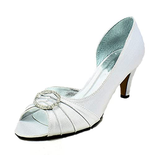 b2f51514a78 Ladies Luxury Satin Kitten Heel Diamante Circle peep Toe Evening Shoes   Amazon.co.uk  Shoes   Bags