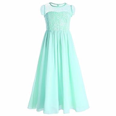iEFiEL Flower Girls Junior Bridesmaid Long Chiffon Wedding Dress Princess Pageant Dance Gown Aquamarine 4