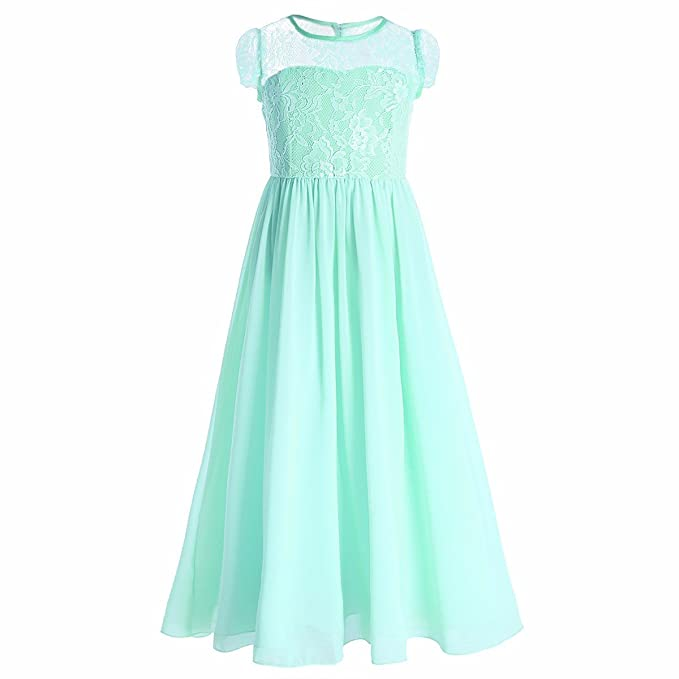 85130b56559 iEFiEL Flower Girls Junior Bridesmaid Long Chiffon Wedding Dress Princess  Pageant Dance Gown Aquamarine 4