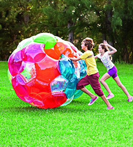 HearthSong Light Up Multi Color Kaleidoscopic GBOP Great Big Outdoor Play Ball Confetti Filled Motion Activated LEDs Inflatable Durable PVC 65'' Diam