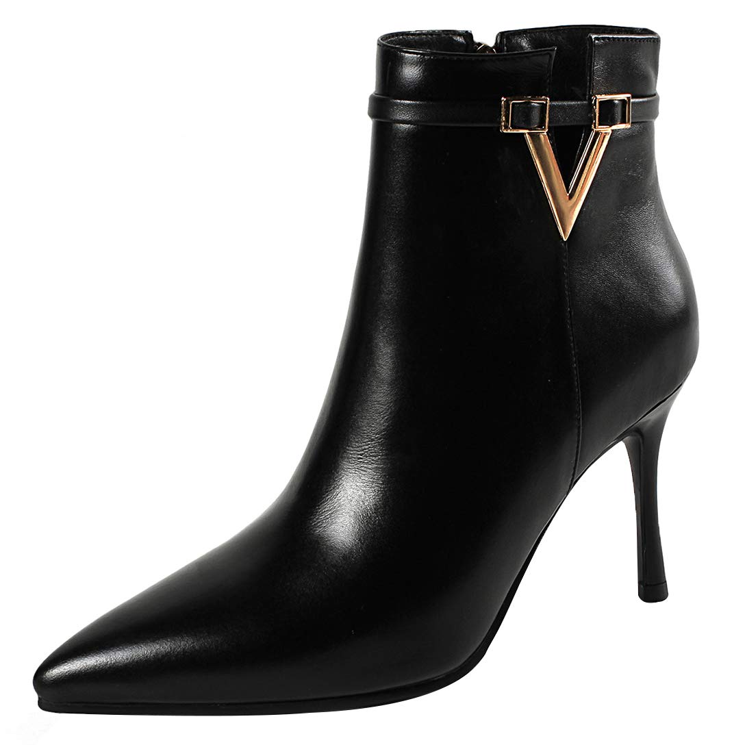 Black Eithy Women's Shaboa Stiletto Ankle-high Zipper Leather Boots