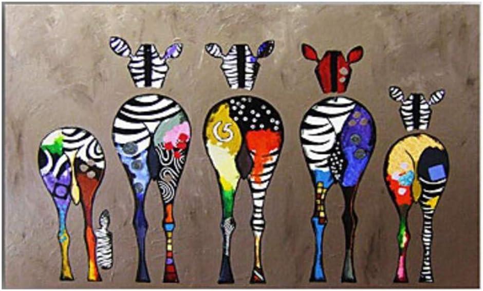 XIAOXINYUAN 100% Pintura Al Óleo Pintada A Mano Animal Multicolor Caballo Arte Abstracto Moderno Cuadro De La Pared para La Habitación Decoración del Hogar Pintura 80×120Cm