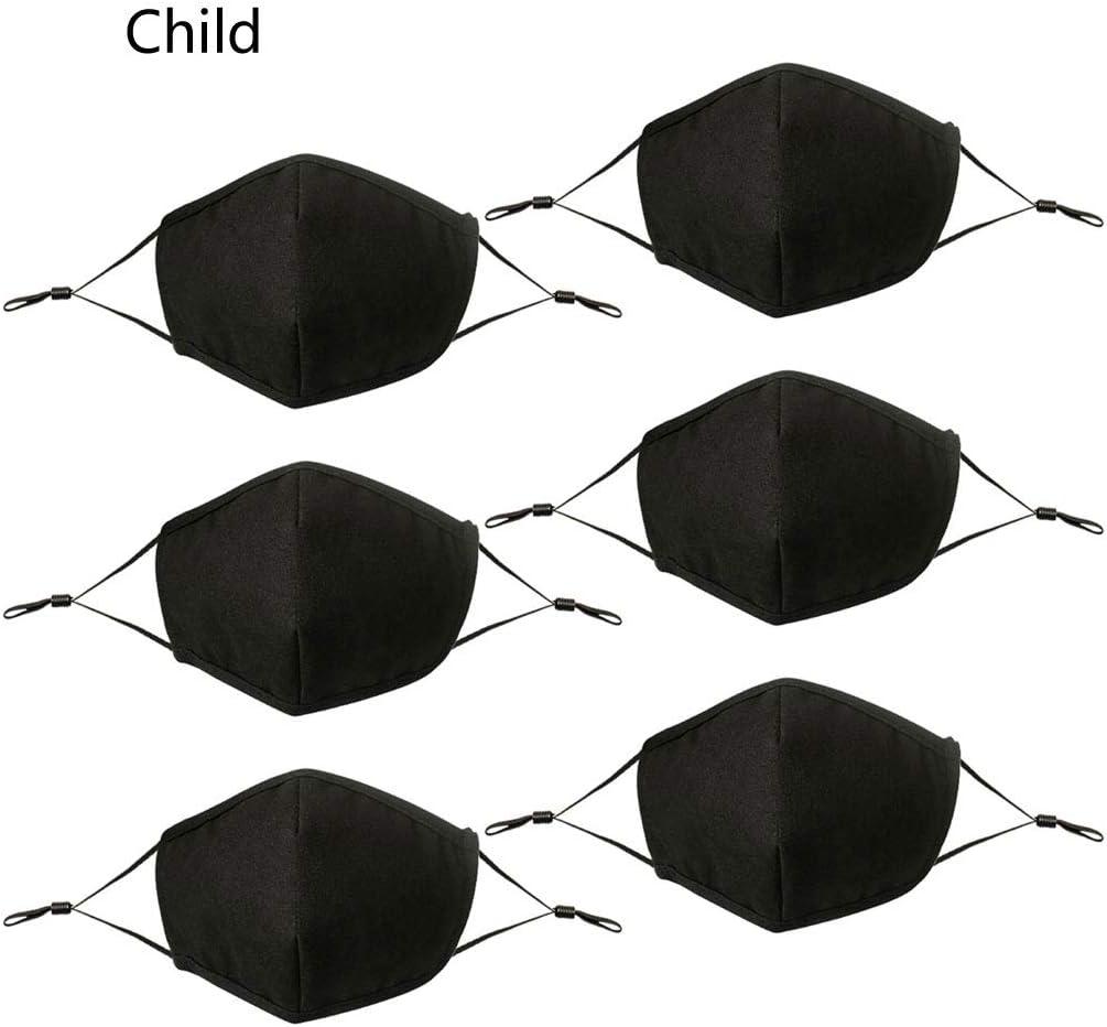 Abdeckung 6 Stk Kinder Erwachsene Schwarz Einstellbar Staubdicht 4 Schicht Baumwolle Waschbar Wiederverwendbar Draussen Unisex Gesicht Oder Mund