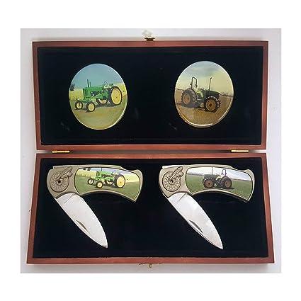 Amazon.com: Juego de cuchillos de bolsillo de tractor verde ...