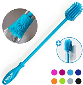 Holikme Silicone Bottle Brush Bottle Cleaner for your Bottles Vase and Glassware Best Water Bottle Cleaning Brush for Washing Containers Sky Blue