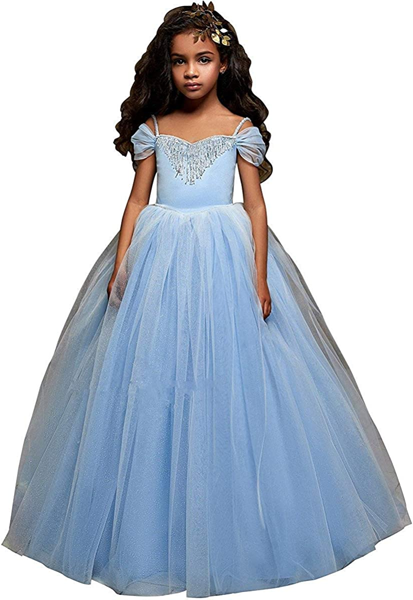Real picture Kid Party Princess Bridesmaid Wedding Flower Girl Dress blue-G