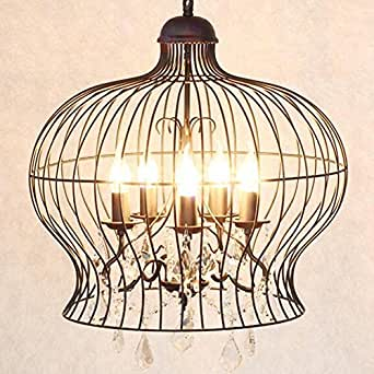 YUGDSIMB American Village Crystal Iron Black Birdcage Candle Chandelier