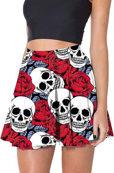 Yying Faldas Calavera Punk Gótico Mujer Una Línea Calavera Plisada ...