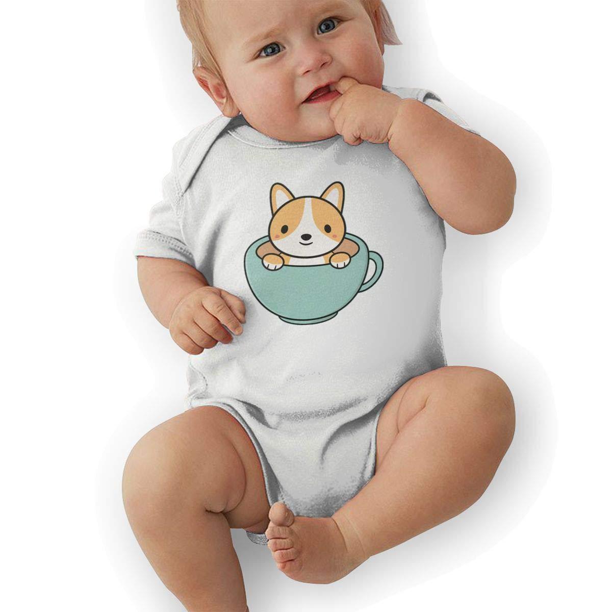 Corgi Dog is Kawaii Cute Newborn Baby Short Sleeve Romper Infant Summer Clothing