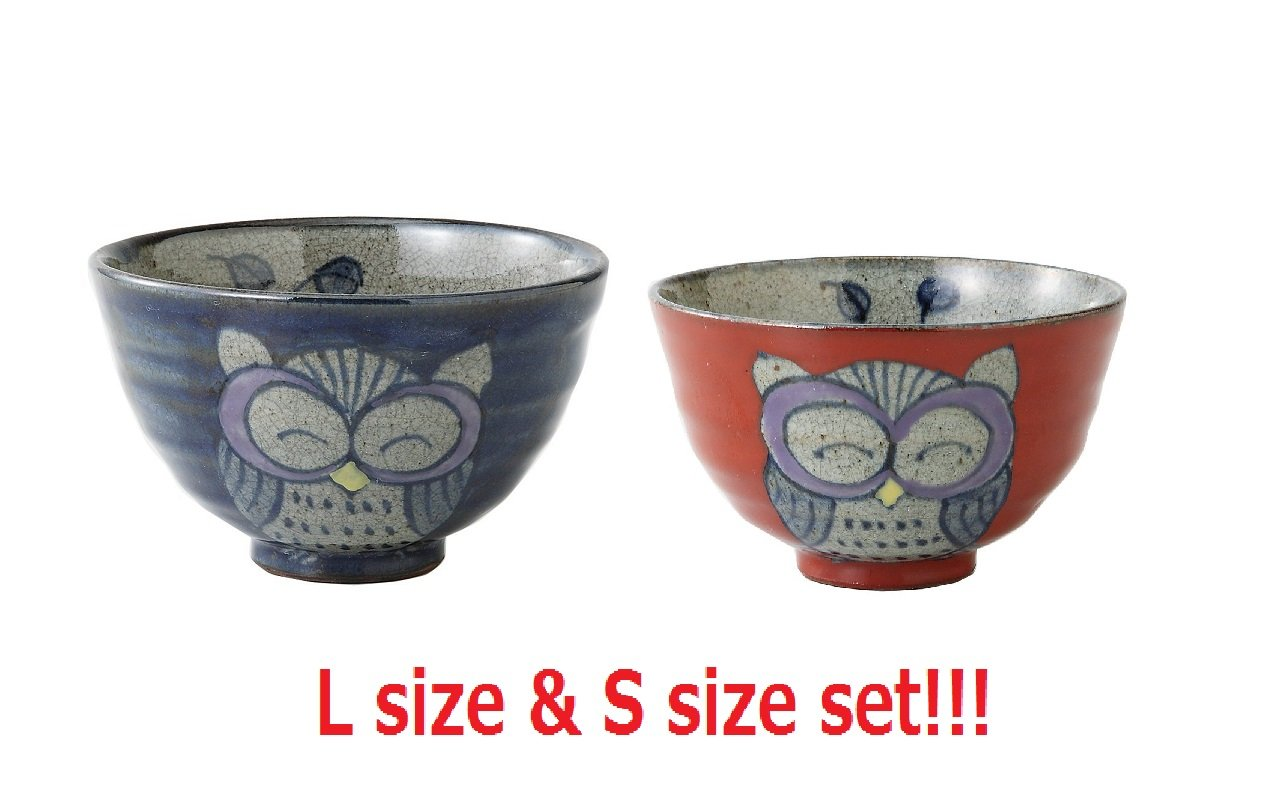 [2 bowls set!!!] Saikai Pottery Owl Japanese Rice Bowl L & S size Blue & Red 83970 & 83971 from Japan