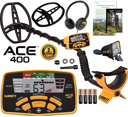 Garrett Ace 400 Metal Detector with Waterproof Coil and Headphone Plus Free Accessories