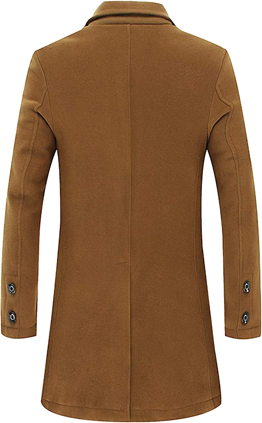 Flygo Mens Winter Classic Wool Blend 2 Pieces Single Breasted Long Pea Coat