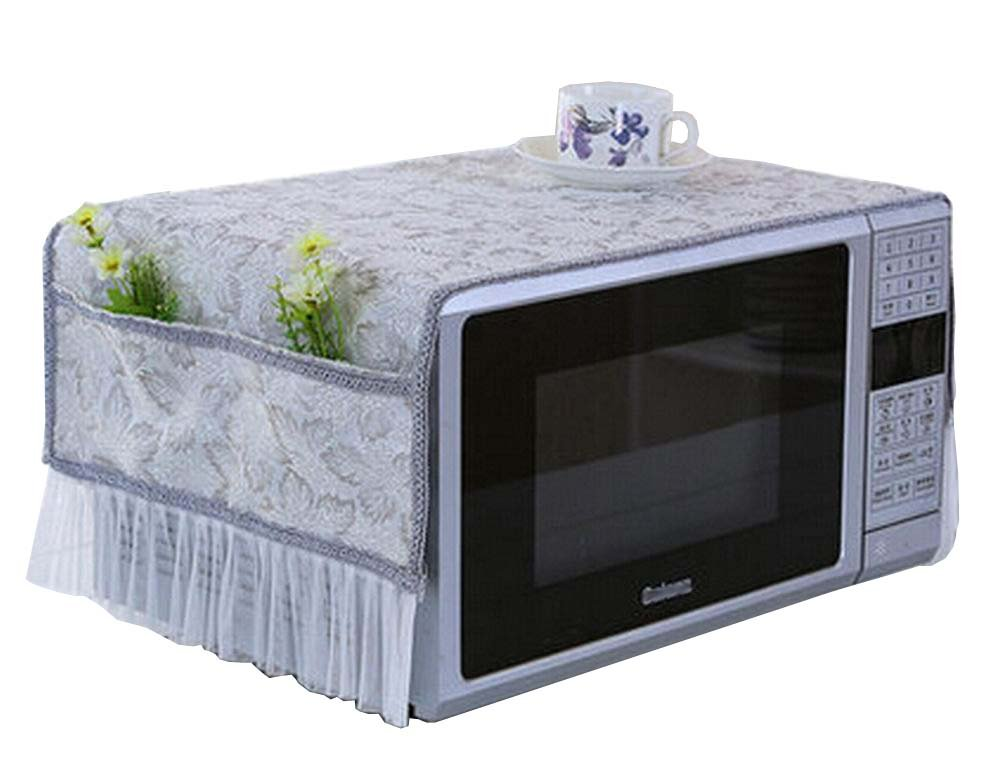 Elegant Microwave Oven Dust Cover Dustproof Cloths with Pockets Leaves Grey Blancho Bedding