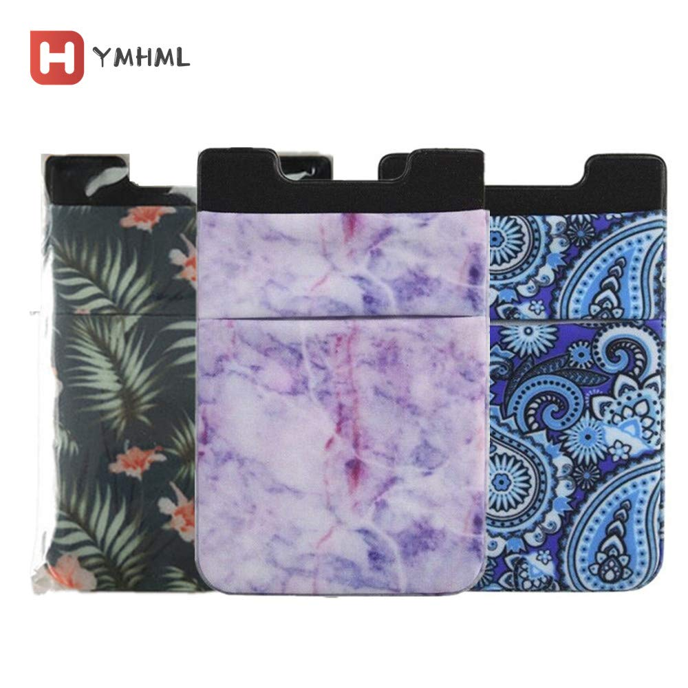 Marble Adhesive Phone Pocket,Cell Phone Stick On Card Wallet Sleeve,Credit Cards/ID Card Holder(Double Secure) 3M Sticker for Back of iPhone,Android and All Smartphones 3 Pack (Green+Purple+Blue)