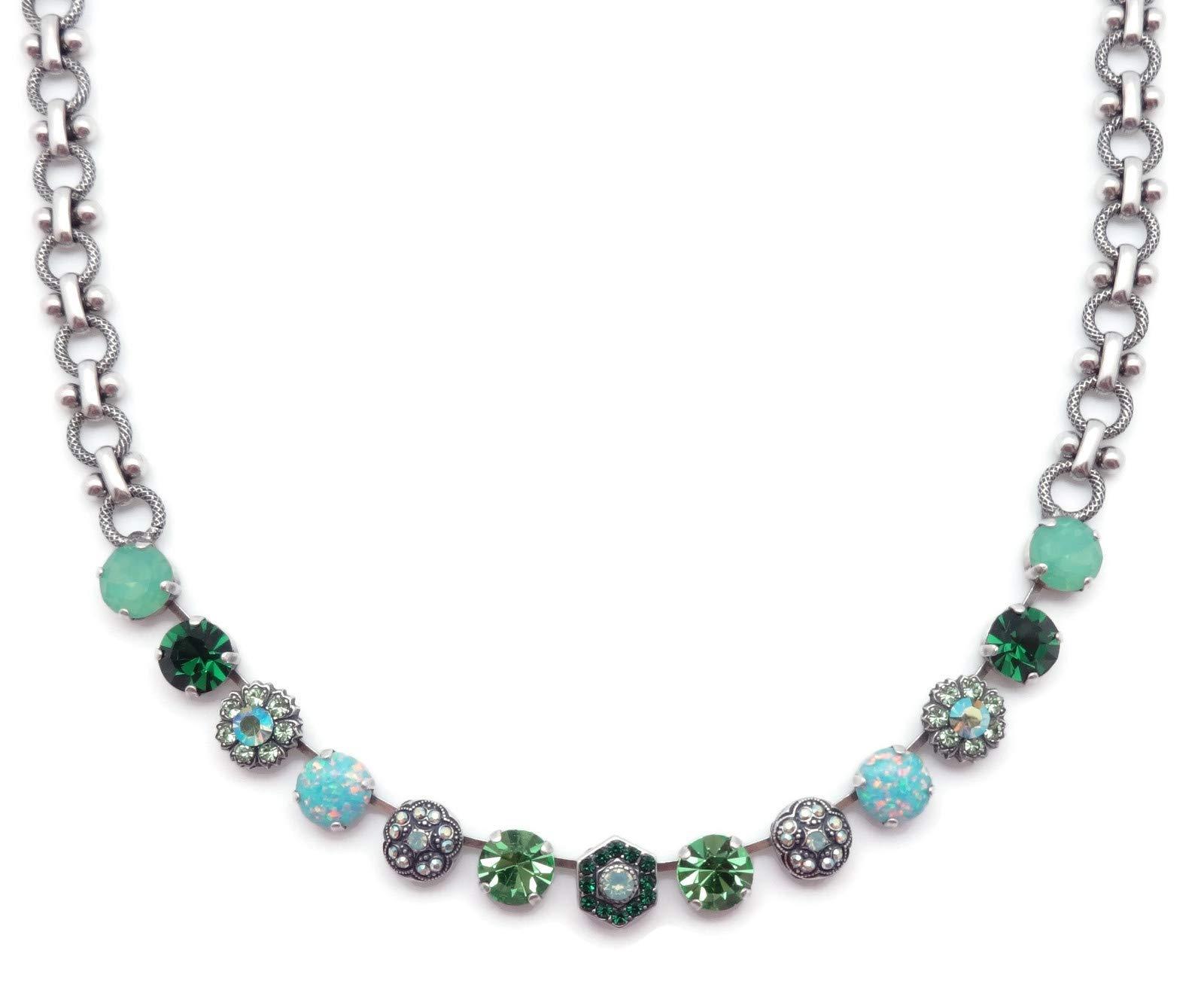 Mariana Fern Swarovski Crystal Silvertone Necklace Green & Green Opalescent Mix Mosaic M2143 by Mariana