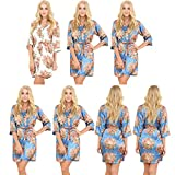Set of 7 Women's Satin Short Floral Wedding Robes - Bridesmaids Dressing Gown