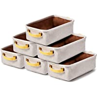 EZOWare Small Collapsible Storage Bins Baskets, Pack of 6 Foldable Canvas Fabric Tweed Organizer Set with Handles for…
