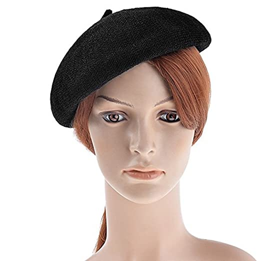 443409936c5f6 YINGLAN Vbiger Women French Beret Hat Solid Color Cotton Beanie Cap Light  Weight Knit Hat Black
