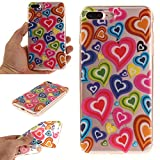 iPhone 7 Plus - Case, MerKuyom [Clear Transparent] [Slim-Fit] [Flexible Gel] Thin Soft TPU Case Skin Cover W/ Stylus For Apple iPhone 7 Plus , 7Plus (2016) – 5.5 inch (Colorful Love Hearts)