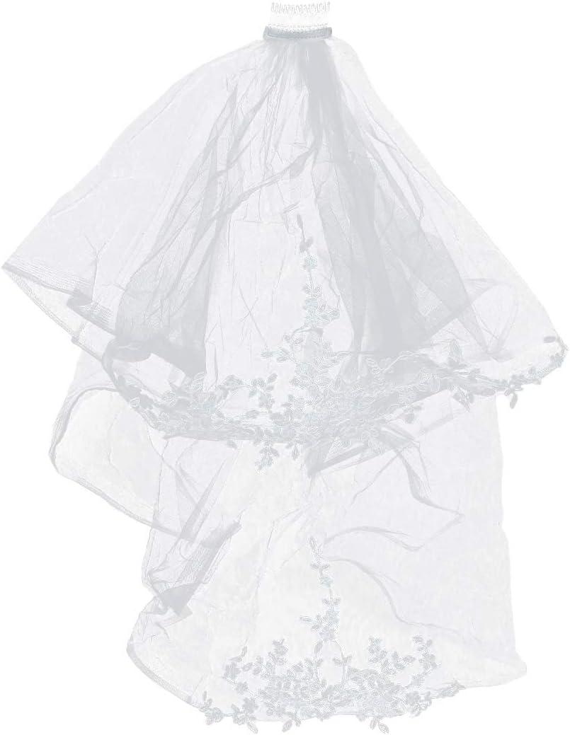 Lurrose velo de novia, catedral corta, doble capa, velo de novia, velo de encaje con lado del pelo para la novia (blanco crema)