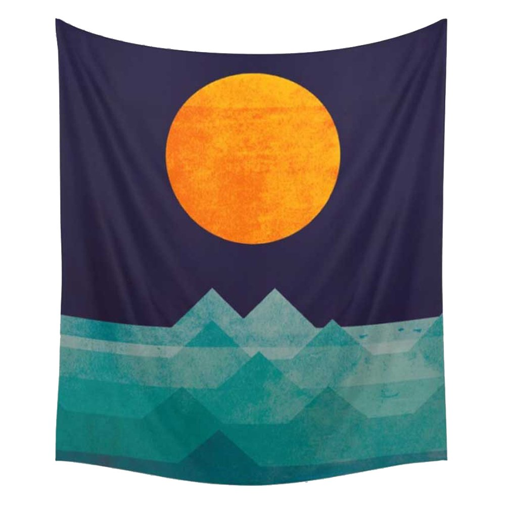 Ocean Beach Tapestry Wall Hanging, Coast at Sunrise Time Printed Wall Art Hanging Tapestry Dorm Decor (51H x 60W,Sunrise) Shukqueen