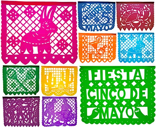 Muunek Cinco de Mayo Fiesta Papel Picado Plastic Banner 18ft Mexican Party -