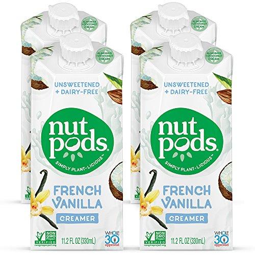 nutpods Dairy-Free Creamer Unsweetened (French Vanilla, 4-pack) - Whole30 / Paleo / Keto / Vegan / Sugar Free