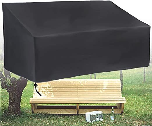 Wide Smile - Funda impermeable para banco de jardín, 2 asientos, transpirable, resistente a los rayos UV, 210D, tela Oxford, 134 x 66 x 89 cm, color negro: Amazon.es: Hogar