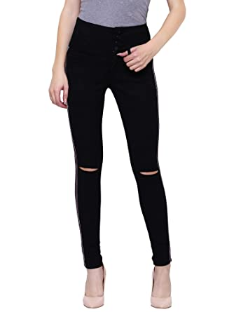 structural disablities preview of luxury Girlish Women's Five Button Side Taping Knee Slit High Waist Jeans