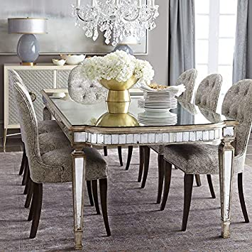 Mirror Dining Table Gold Trim 4 6 Seater Glamour Sparkle