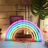 AIZESI Rainbow Neon Light Sign,Rainbow Light Lamp Rainbow Gifts Decor,Marquee Battery or USB Operated Wall Decoration for Girls Bedroom,Living Room,Christmas,Party as Kids Gift(Rai